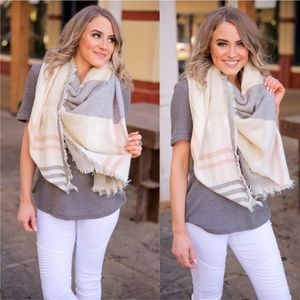 LAST ONE! Gray Blush and Ivory Plaid Blanket Scarf